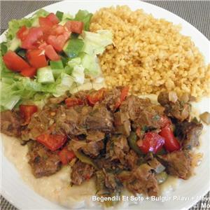 Beğendili Et Sote + Bulgur Pilavı + Salata