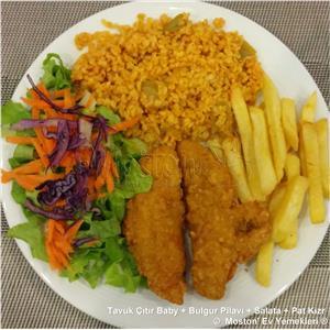 Tavuk Çıtır Baby + Bulgur Pilavı + Salata + Pat. Kızr.