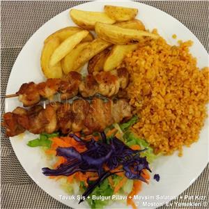 Tavuk Şiş + Bulgur Pilavı + Salata + Pat. Kızr.