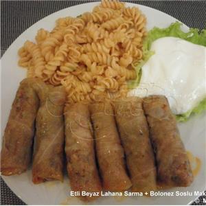 Etli Beyaz Lahana Sarma + Soslu Makarna + Yoğurt