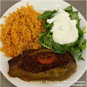 Karnıyarık + Bulgur Pilavı + Semizotu Salatası