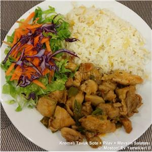 Kremalı Tavuk Sote + Pilav + Salata