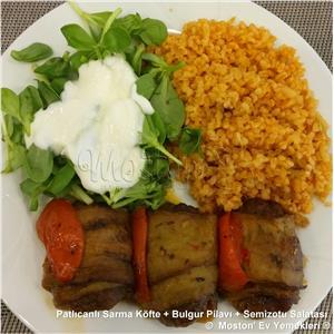 Patlıcanlı Sarma Köfte + Bulgur Pilavı + Semizotu Salatası