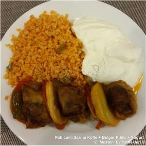 Patlıcanlı Sarma Köfte + Bulgur Pilavı + Yoğurt
