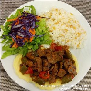 Püreli Et Sote + Pirinç Pilavı + Salata