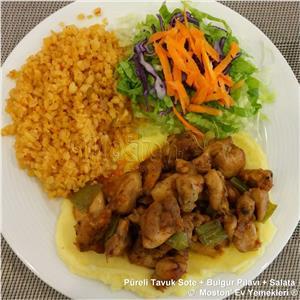 Püreli Tavuk Sote + Bulgur Pilavı + Salata