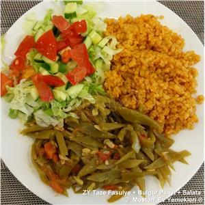 Zeytinyağlı Taze Fasulye + Bulgur Pilavı + Salata