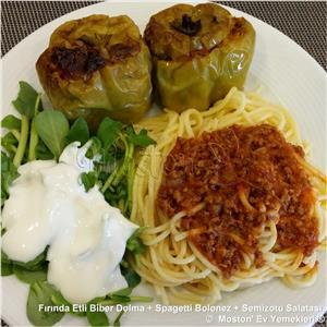 Fırında Etli Biber Dolma + Spagetti Bolonez + Semizotu Salatası