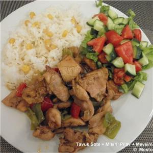 Tavuk Sote + Mısırlı Pilav + Salata